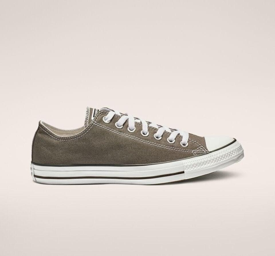 <p><span>Chuck Taylor All Star Charcoal Grey Low Tops</span> ($50)</p>