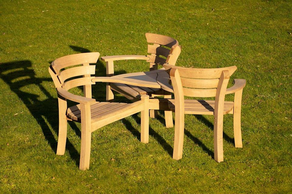 """<p>This comfortable and elegant three-way conversation seat is made from sustainably sourced prime oak. An eye-catching and sculptural addition to outdoor areas. </p><p><a class=""""link rapid-noclick-resp"""" href=""""https://www.gazeburvill.com/furniture/seating/"""" rel=""""nofollow noopener"""" target=""""_blank"""" data-ylk=""""slk:BUY NOW"""">BUY NOW</a> <strong>£6,960</strong></p>"""