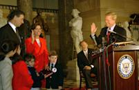 <p>Pelosi is sworn in as the House Minority Whip in 2002. Her husband, Paul, daughter, and grandchildren are on hand to watch the ceremony. </p>