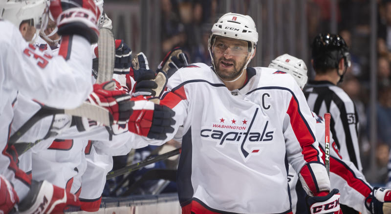 Alex Ovechkin's overtime tally, his second of the game, boosted the 34-year-old past Luc Robitaille on the prestigious list. (Photo by Mark Blinch/NHLI via Getty Images)