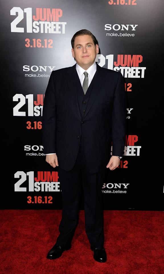 "HOLLYWOOD, CA - MARCH 13:  Actor Jonah Hill arrives at the Premiere Of Columbia Pictures' ""21 Jump Street"" at Grauman's Chinese Theatre on March 13, 2012 in Hollywood, California.  (Photo by Frazer Harrison/Getty Images)"