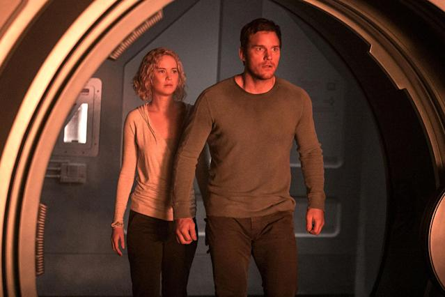 "<p>Here's an absurdly attractive couple with an absurdly awful ""meet cute"" story. Awakening too early on a multi-decade space flight, Jim (Chris Pratt) proceeds to rouse Aurora (Jennifer Lawrence) for companionship (and nookie) all while lying to her about why she's not still in hypersleep. Why she doesn't eject him out the airlock the minute she learns the truth remains a mystery to us. (Photo: Jaimie Trueblood/Columbia Pictures/courtesy Everett Collection) </p>"