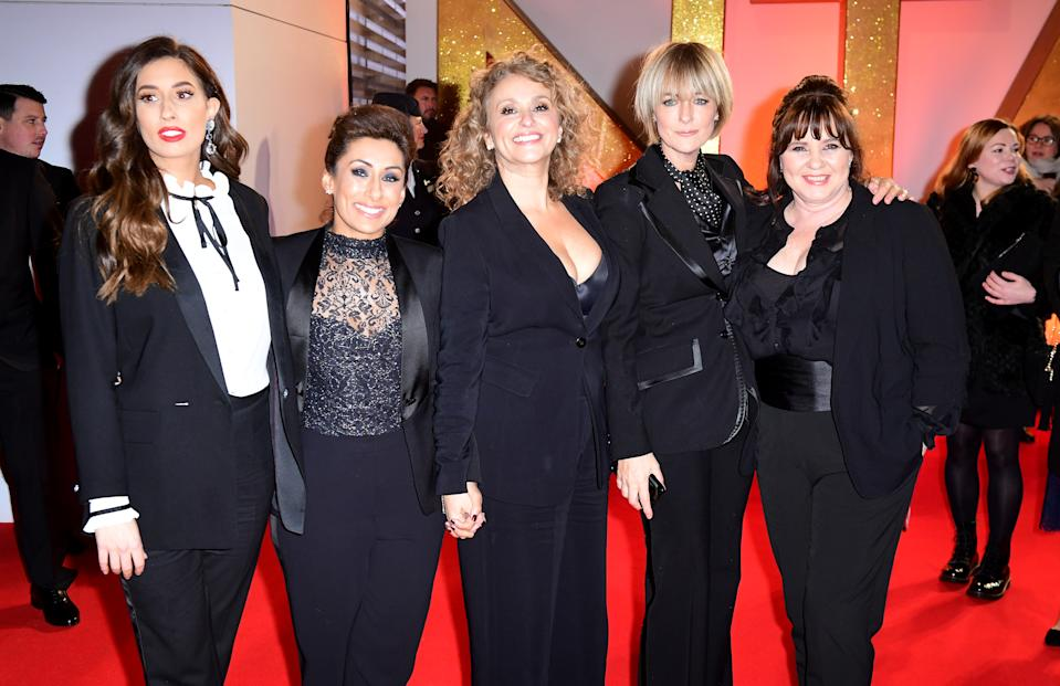 (left to right) Stacey Solomon, Saira Khan, Nadia Sawalha, Jane Moore and Coleen Nolan attending the National Television Awards 2019 held at the O2 Arena, London.