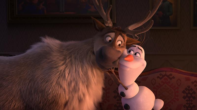"Trusted reindeer Sven and curious snowman Olaf (voice of Josh Gad) are up for an adventure in ""Frozen 2."" They join Kristoff, Anna and Elsa on a journey into the unknown in search of answers about the past. From the Academy Award®-winning team—directors Jennifer Lee and Chris Buck, producer Peter Del Vecho and songwriters Kristen Anderson-Lopez and Robert Lopez—Walt Disney Animation Studios' ""Frozen 2"" opens in U.S. theaters on Nov. 22, 2019. © 2019 Disney. All Rights Reserved."
