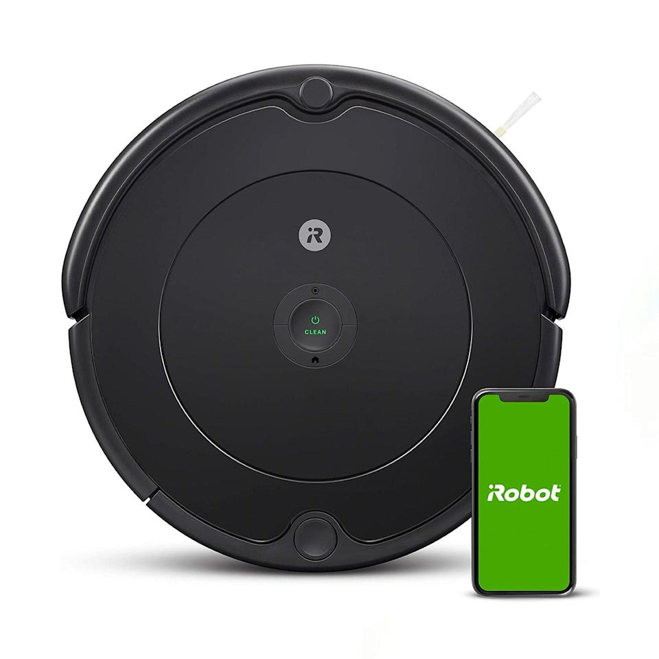 """As far as robot vacuums go, you're forgiven for thinking the Roomba doesn't live up to the hype. This beaut glides smoothly over multiple floor types, lapping up pretty much anything in its path—and it has WiFi connectivity, meaning it syncs to an iRobot app where it can be programmed to learn your floor plan, clean on a weekly schedule, or go back to its dock. The device also integrates seamlessly with Google Nest products, in case your space is smart home-ified. And even though iRobot has plenty of other high-end models suitable for larger families, trust, the 692 model can most definitely hold its own if it's just you and a plus one. $280, Amazon. <a href=""""https://www.amazon.com/dp/B085D4MFS8"""" rel=""""nofollow noopener"""" target=""""_blank"""" data-ylk=""""slk:Get it now!"""" class=""""link rapid-noclick-resp"""">Get it now!</a>"""