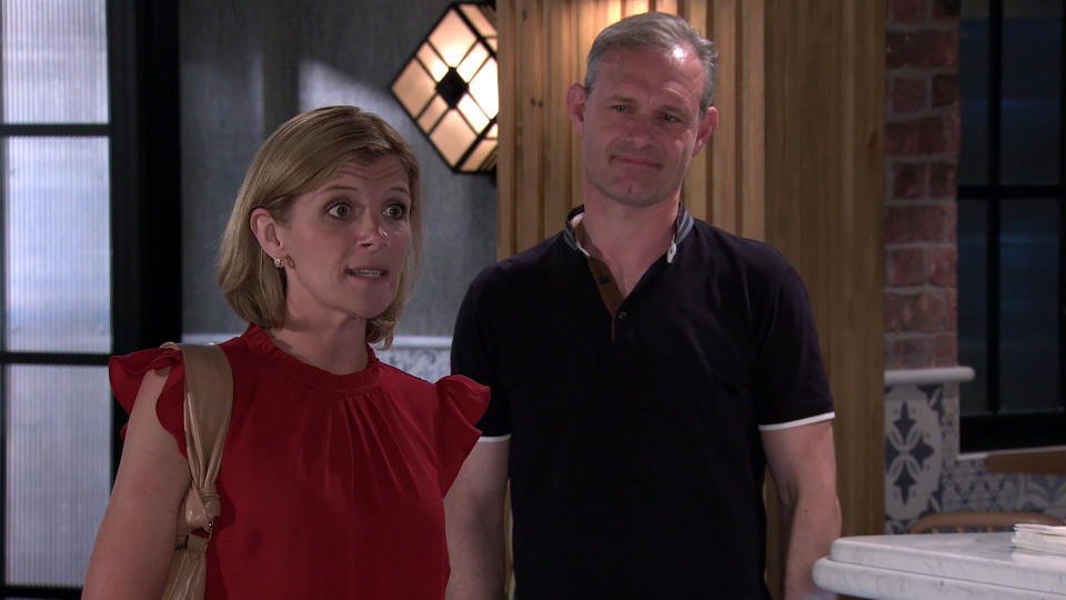 FROM ITV  STRICT EMBARGO - No Use Before Tuesday 10th August 2021  Coronation Street - Ep 10405  Monday 16th August 2021 - 2nd Ep  Leanne Battersby [JANE DANSON] and Nick TILSLEY [BEN PRICE] tell Debbie WEBSTER {SUE DEVANEY] they overheard how keen Ronnie was to buy into the bistro so they have found a cheaper proposition in town.   Picture contact David.crook@itv.com   This photograph is (C) ITV Plc and can only be reproduced for editorial purposes directly in connection with the programme or event mentioned above, or ITV plc. Once made available by ITV plc Picture Desk, this photograph can be reproduced once only up until the transmission [TX] date and no reproduction fee will be charged. Any subsequent usage may incur a fee. This photograph must not be manipulated [excluding basic cropping] in a manner which alters the visual appearance of the person photographed deemed detrimental or inappropriate by ITV plc Picture Desk. This photograph must not be syndicated to any other company, publication or website, or permanently archived, without the express written permission of ITV Picture Desk. Full Terms and conditions are available on  www.itv.com/presscentre/itvpictures/terms