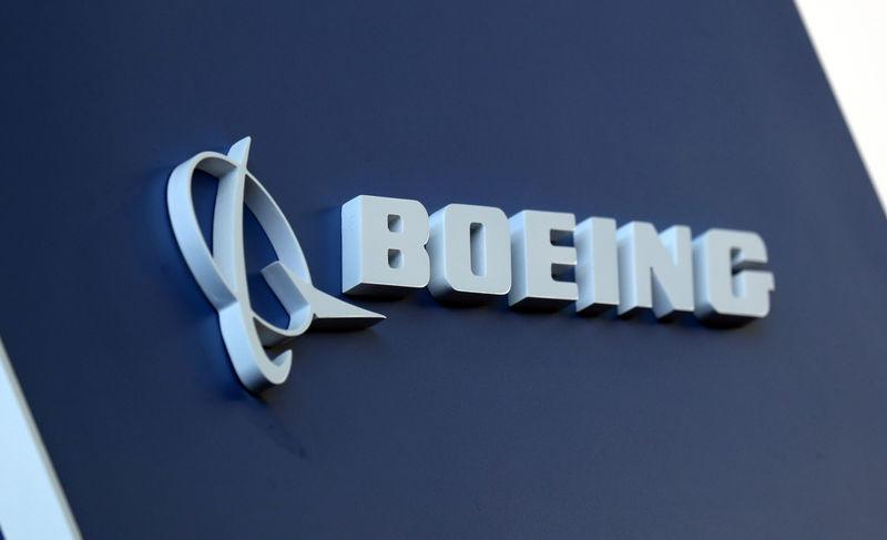 FILE PHOTO: The Boeing logo is pictured at Congonhas Airport in Sao Paulo, Brazil