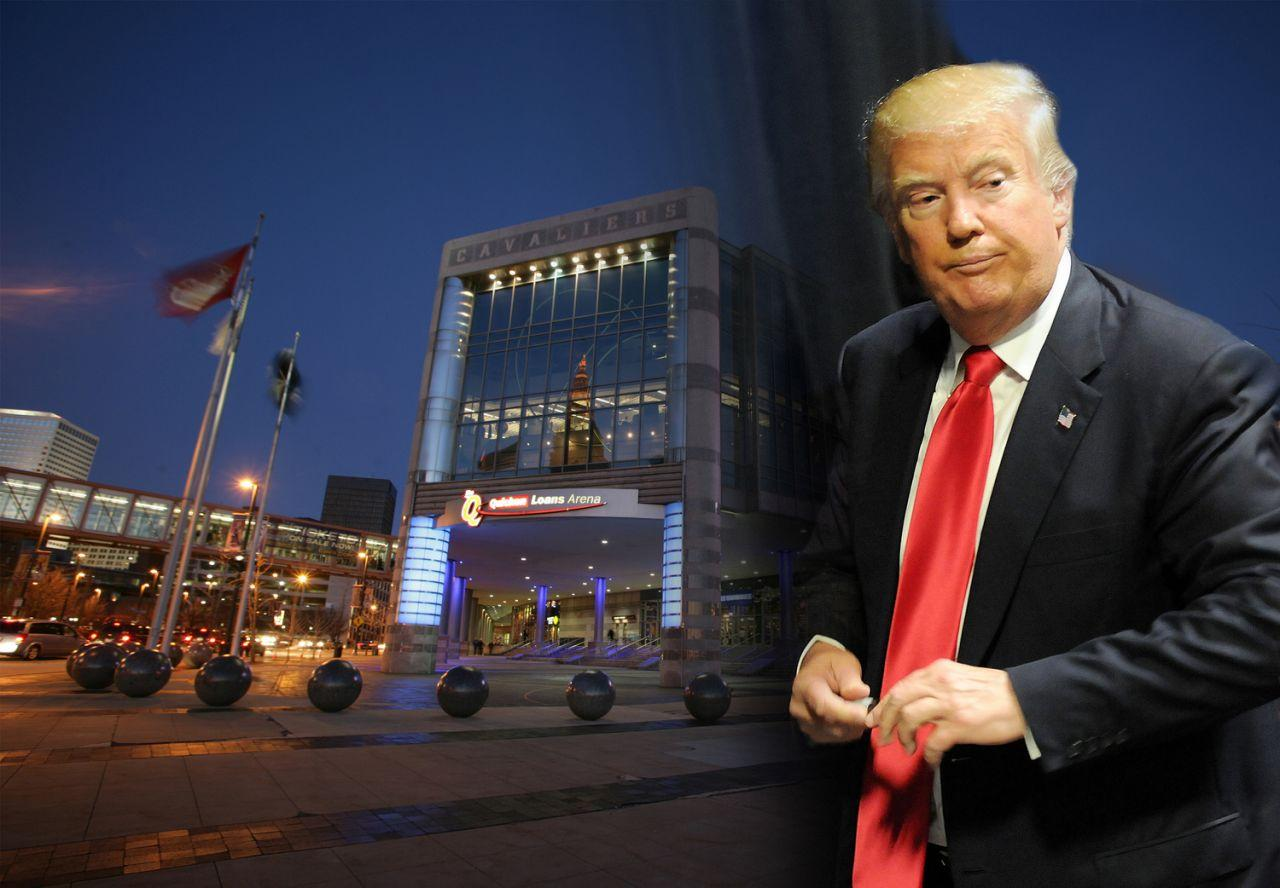 Quicken Loans Arena in Cleveland and Donald Trump. (Photo illustration: Yahoo News, photos: David Liam Kyle/NBAE via Getty Images, Gerardo Mora/Getty Images)