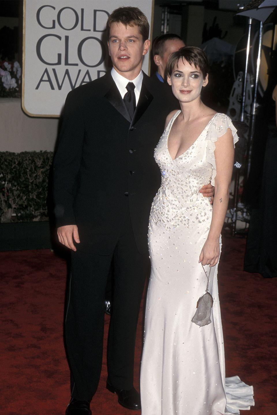 """<p>Back in 1997, Matt Damon and Winona Ryder were introduced by Gwyneth Paltrow who was at the time dating Damon's best friend, Ben Affleck (click to the next slide to see yet another of Paltrow's famous exes). After hitting it off, Damon and Ryder started dating, and Ryder was Damon's date to the 2000 Golden Globes when he was nominated for the movie <em>The Talented Mr. Ripley </em>(along with Paltrow). </p><p>Things didn't end up working out, but Ryder had nothing but good things to say about Damon. """"Matt couldn't be a greater, nicer guy,"""" she said <a href=""""https://www.popsugar.com/celebrity/photo-gallery/44108926/image/44109198/Matt-Damon"""" rel=""""nofollow noopener"""" target=""""_blank"""" data-ylk=""""slk:in an interview"""" class=""""link rapid-noclick-resp"""">in an interview</a>. """"I'm really lucky that I'm on good terms with him.""""</p>"""