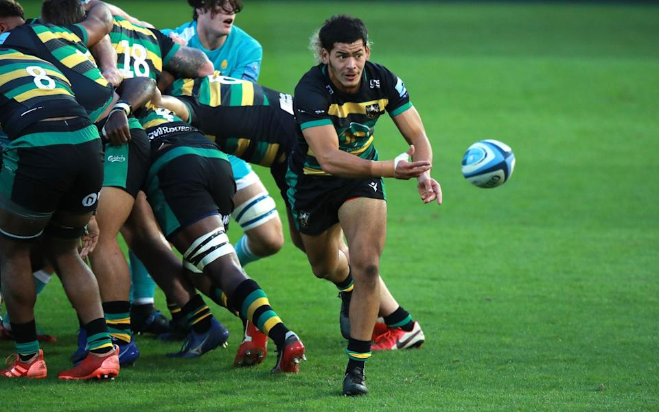 Connor Tupai of Northampton Saints passes the ball during the pre-season friendly against Worcester - GETTY IMAGES