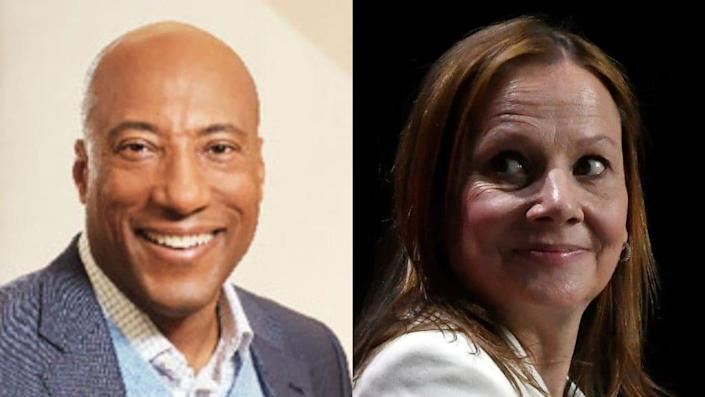 A group of Black media leaders, including Entertainment Studios' Byron Allen (left), say General Motors' Mary Barra (right) has refused to meet with them for five years. (Photos by Michele Thomas and Getty Images)