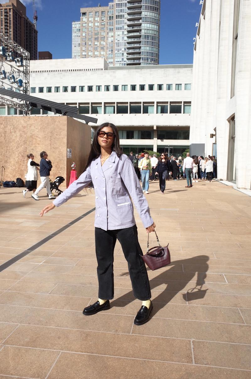 Just after the Longchamp show. We made it just in time! In my vintage French baker's jacket.