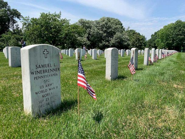 PHOTO: American flag placed in front of 228,000 headstones in Arlington National Cemetery, May 23, 2019. (Jacqueline Yoo/ABC News)
