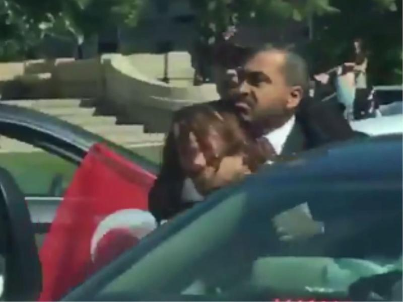Woman says Erdogan bodyguard choked and threatened to kill her during Turkey protests in Washington