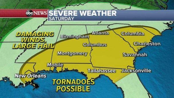 PHOTO: On Saturday, a severe weather threat will move east into the Southeast with the biggest threat for damaging winds and hail. (ABC News)