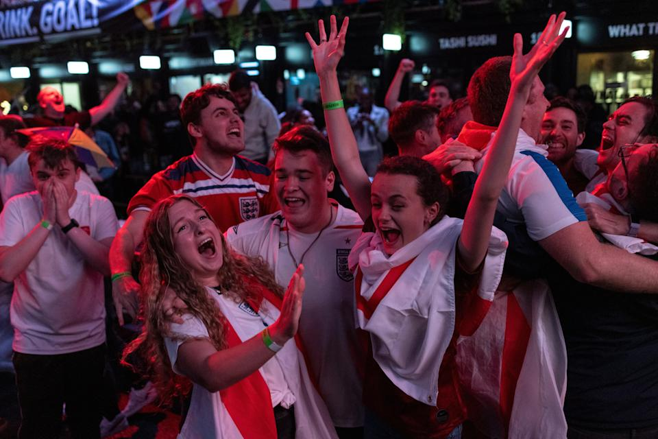 England fans cheer during England v Denmark on 7 July, 2020 (Getty Images)