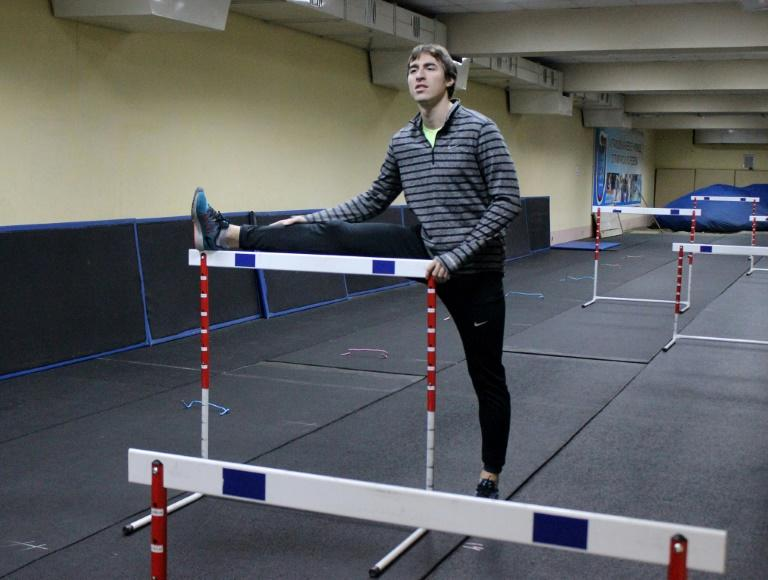 Russian world champion hurdler Sergey Shubenkov trains in Barnaul, Russia on December 15, 2015