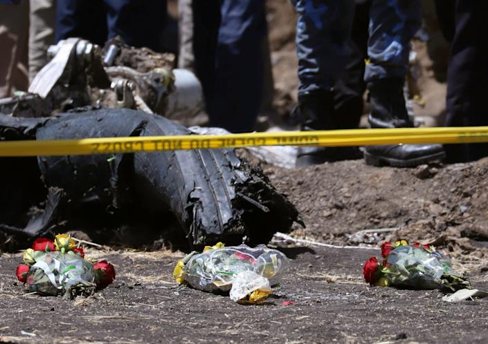 Flowers are seen at the scene of the Ethiopian Airlines Flight ET 302 plane crash, near the town of Bishoftu, southeast of Addis Ababa, Ethiopia March 11, 2019. (Photo: Tiksa Negeri/Reuters)