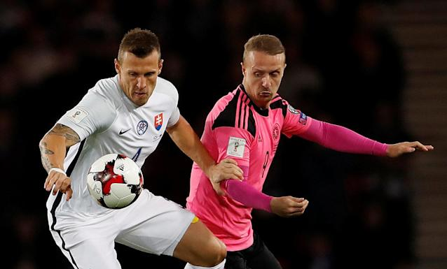 Soccer Football - 2018 World Cup Qualifications - Europe - Scotland vs Slovakia - Hampden Park, Glasgow, Britain - October 5, 2017 Slovakia's Jan Durica in action with Scotland's Leigh Griffiths Action Images via Reuters/Lee Smith