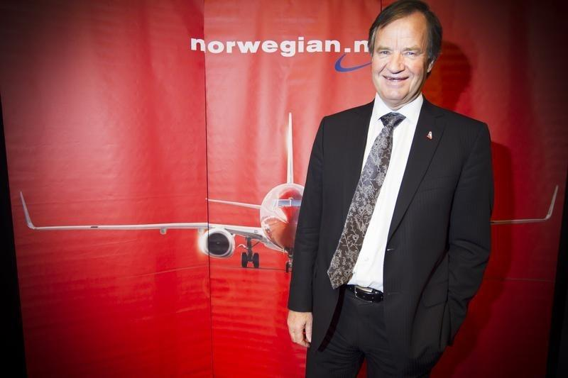 CEO of Norwegian Air Shuttle, Bjorn Kjos, poses at a news conference in Oslo