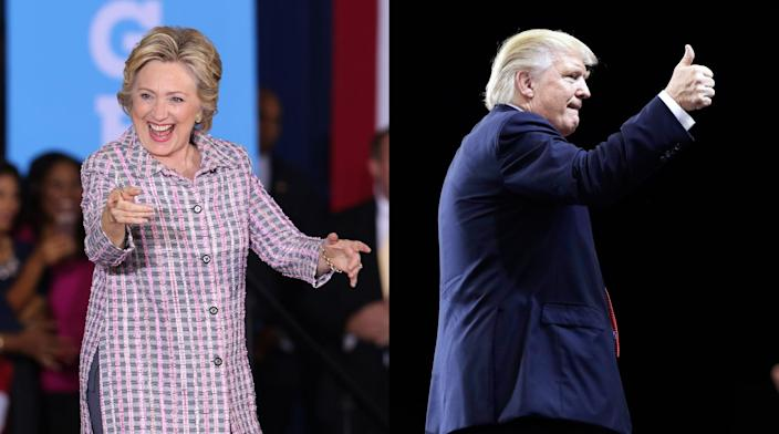 Clinton and Trump campaign in Florida. (Photos: Alexander Tamargo/WireImage via Getty Images, John Locher/AP)
