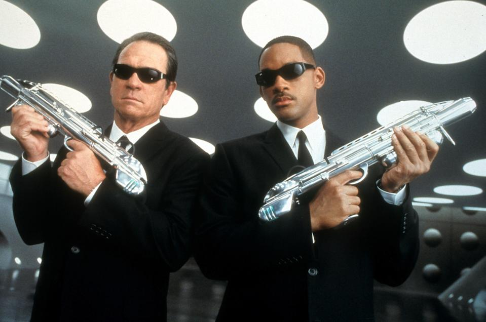 Tommy Lee Jones and Will Smith in publicity portrait for the film 'Men In Black II', 2002. (Photo by Columbia Pictures/Getty Images)