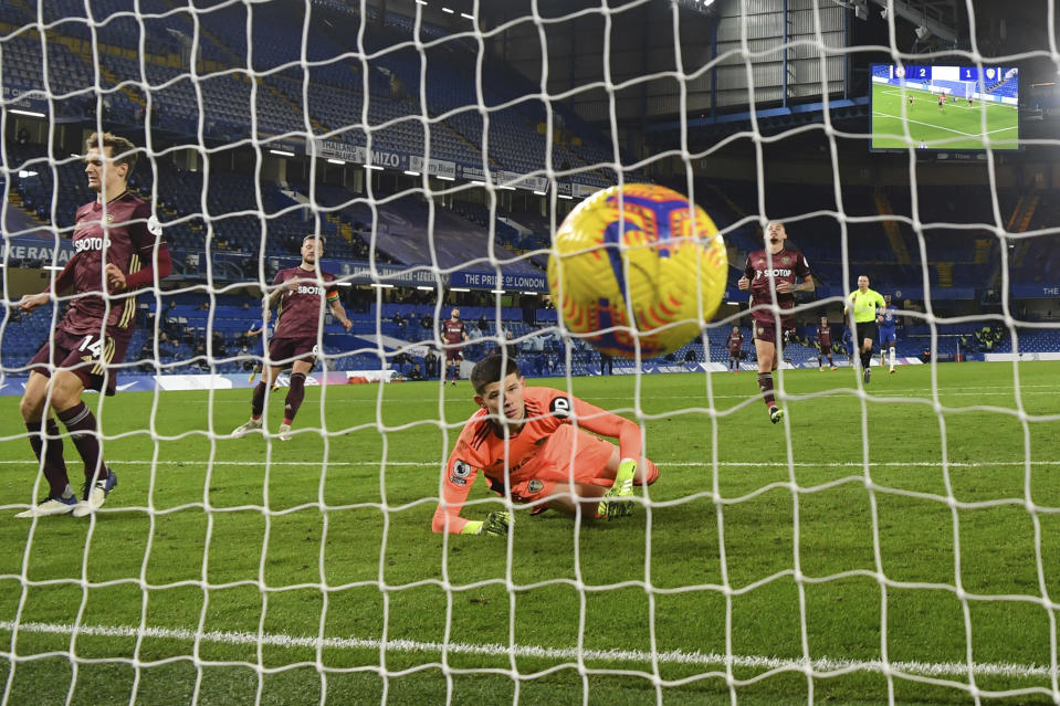 Leeds United's goalkeeper Illan Meslier watches the ball after Chelsea's Christian Pulisic scored his side's third goal during the English Premier League soccer match between between Chelsea and Leeds United at Stamford Bridge in London, England, Saturday, Dec. 5, 2020. (Mike Hewitt, Pool via AP)