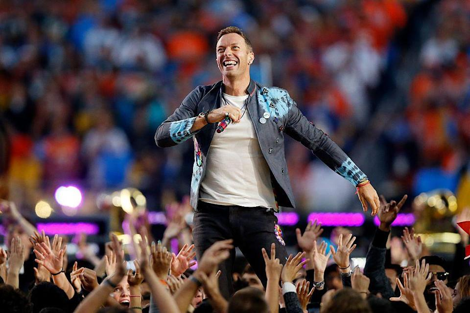 """<p>Coldplay's frontman Chris Martin wore a tie-dyed jacket to perform.</p><p><a class=""""link rapid-noclick-resp"""" href=""""https://www.youtube.com/watch?v=c9cUytejf1k&ab_channel=NFL"""" rel=""""nofollow noopener"""" target=""""_blank"""" data-ylk=""""slk:WATCH NOW"""">WATCH NOW</a></p>"""