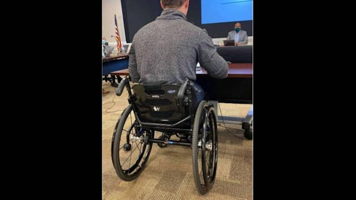 A photo taken by and distributed by U.S. Rep. Madison Cawthorn's political opponents has been reported to law enforcement. It appears to show the handle of a knife protruding from a sheath affixed to the underside of Cawthorn's wheelchair.