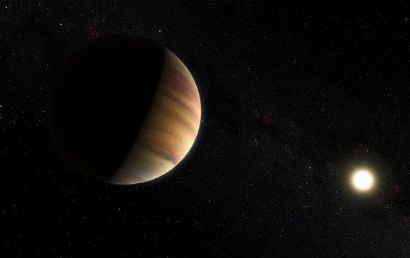 """This artist's concept shows the """"hot Jupiter"""" exoplanet 51 Pegasi b, which in 1995 became the first alien world to be found around a sunlike star. 51 Pegasi b is one of 32 exoplanets whose names will be chosen by public vote."""