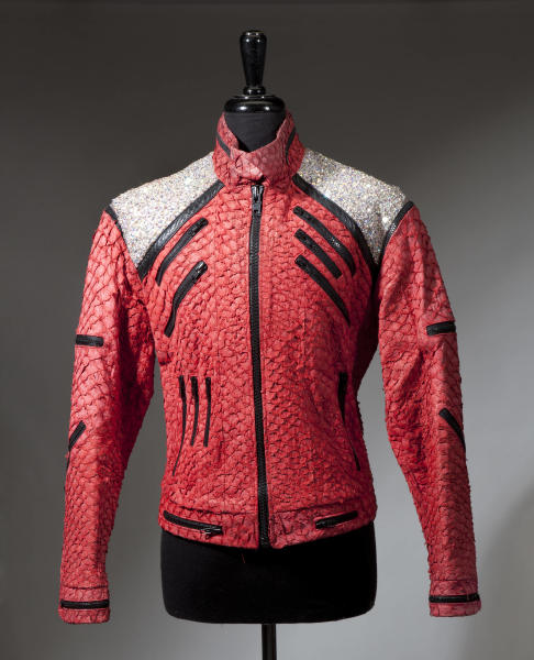 """An undated image released by Julien's Auctions, shows a  a Michael Jackson """"Beat It"""" style jacket used on stage during the 1992-1993 Dangerous Tour. This item is part of Julien's Auctions  worldwide tour of """"Icons & Idols"""" featuring the fashions of Michael Jackson opening May 18-June 29, 2012 in Santiago, Chile. (AP Photo/Julien's Auctions) NO SALES"""