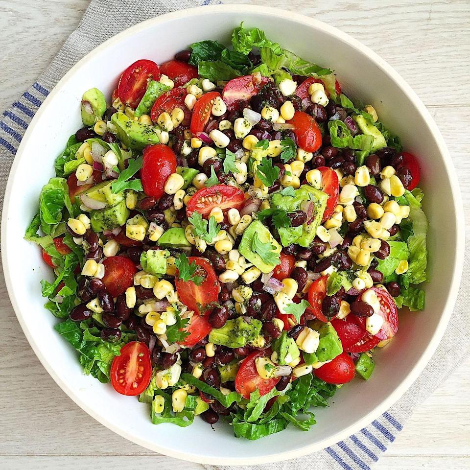 """<p>Everything you love in a burrito bowl, only without the rice.</p><p>Get the recipe from <a href=""""https://www.delish.com/cooking/recipe-ideas/recipes/a45716/southwestern-chopped-salad/"""" rel=""""nofollow noopener"""" target=""""_blank"""" data-ylk=""""slk:Delish"""" class=""""link rapid-noclick-resp"""">Delish</a>.</p>"""