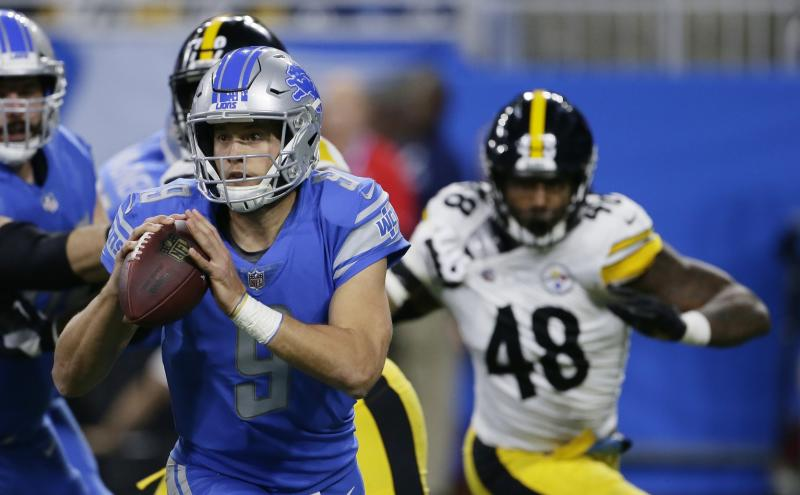 The Steelers kept Matthew Stafford out of the end zone in Sunday night's victory in Detroit. (AP)