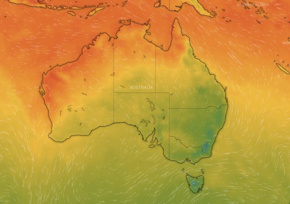 The weekends weather will be the first taste of winter for much of Australia. Source: Windy