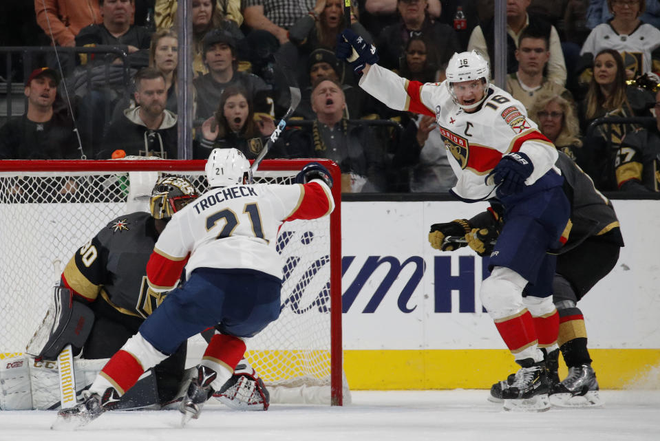 Florida Panthers center Aleksander Barkov (16) celebrates after scoring against Vegas Golden Knights goaltender Malcolm Subban (30) during the second period of an NHL hockey game Thursday, Feb. 28, 2019, in Las Vegas. (AP Photo/John Locher)