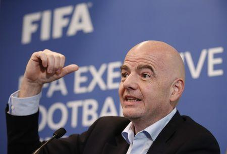 Britain Football Soccer - FIFA Executive Football Summit Press Conference - Hilton Hotel, Heathrow Airport, London, England - 9/3/17 FIFA president Gianni Infantino during the press conference Action Images via Reuters / Matthew Childs Livepic EDITORIAL USE ONLY.