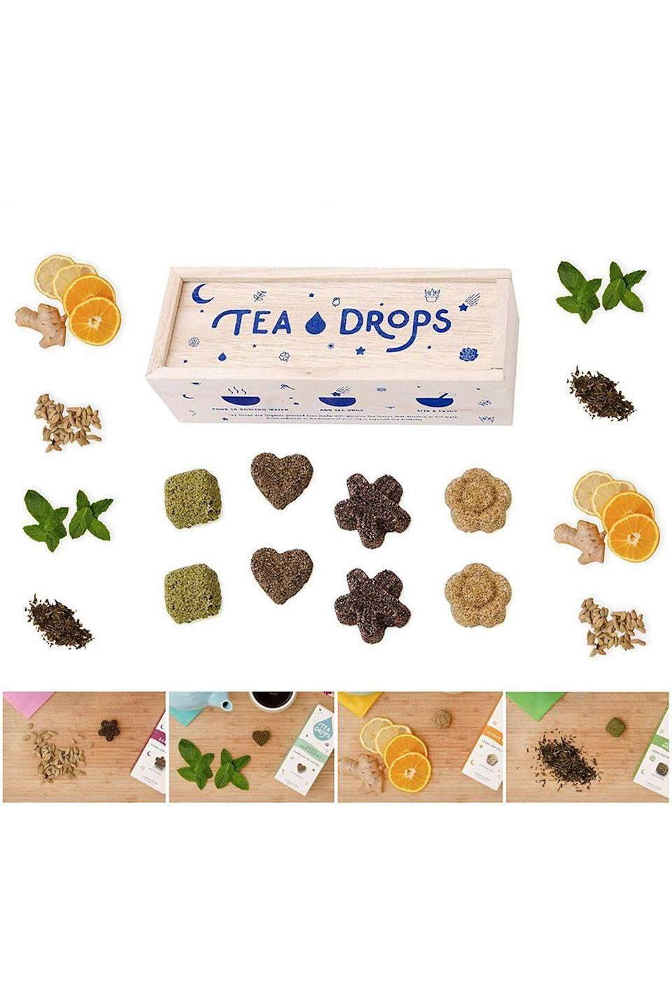 "<p><strong>Tea Drops </strong></p><p>amazon.com</p><p><strong>$16.99</strong></p><p><a href=""https://www.amazon.com/dp/B0155KFTHS?tag=syn-yahoo-20&ascsubtag=%5Bartid%7C10055.g.4670%5Bsrc%7Cyahoo-us"" rel=""nofollow noopener"" target=""_blank"" data-ylk=""slk:Shop Now"" class=""link rapid-noclick-resp"">Shop Now</a></p><p>Your favorite tea lover deserves more than just any ol' tea bag. Instead, give her a wooden box of assorted pressed teas in the shape of hearts, flowers, and stars. No tea strainer required.</p>"