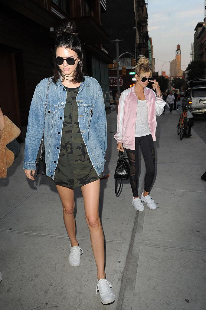 <p>When you have legs like this, we can understand the appeal of showing them off. Which is exactly what Kendall did when she stepped out in a camo tee and jean jacket. <i>(Photo by Josiah Kamau/BuzzFoto via Getty Images)</i></p>