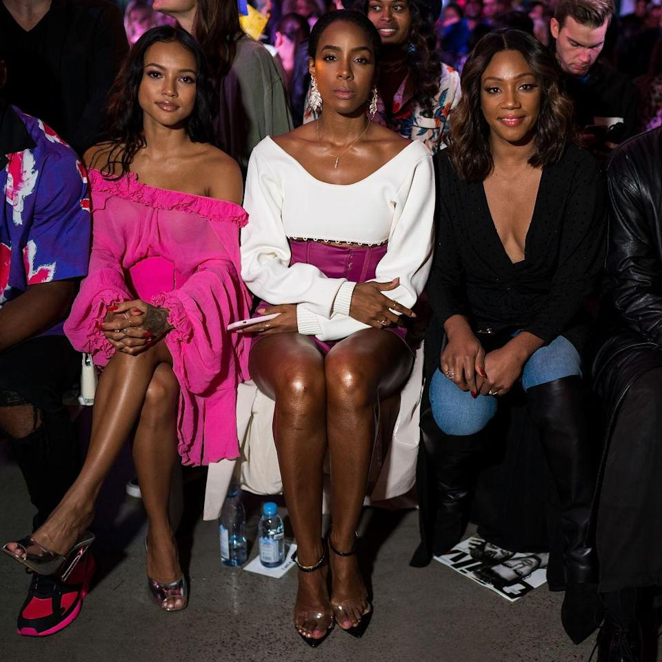 <p>Karrueche Tran, Kelly Rowland and Tiffany Haddish attend the Prabal Gurung Spring 2019 fashion show during New York Fashion Week at Spring Studios on September 9, 2018 in New York City. (Photo: Michael Stewart/WireImage) </p>