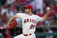 Los Angeles Angels starting pitcher Andrew Heaney throws to the plate during the third inning of a baseball game against the Seattle Mariners Friday, July 16, 2021, in Anaheim, Calif. (AP Photo/Mark J. Terrill)