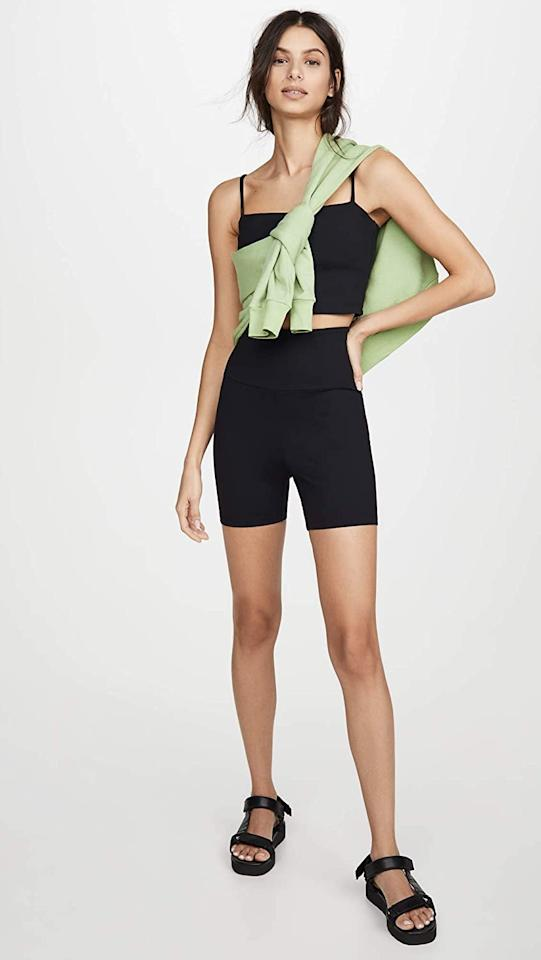 """<p>You can pair these <product href=""""https://www.amazon.com/Susana-Monaco-Womens-Shorts-Black/dp/B088XY54D1?s=shopbop&amp;ref_=sb_ts"""" target=""""_blank"""" class=""""ga-track"""" data-ga-category=""""internal click"""" data-ga-label=""""https://www.amazon.com/Susana-Monaco-Womens-Shorts-Black/dp/B088XY54D1?s=shopbop&amp;ref_=sb_ts"""" data-ga-action=""""body text link"""">Susana Monaco Bike Shorts</product> ($78) with just about anything.</p>"""