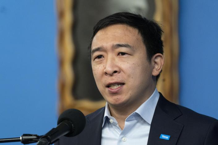FILE — In this March 18, 2021, file photo, Andrew Yang, a New York City Democratic mayoral candidate, speaks at the National Action Network in New York. With just under six weeks to go before the June 22 primary, former presidential candidate Yang is clinging to front-runner status. (AP Photo/Mark Lennihan, File)