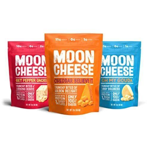 """<p><strong>Moon Cheese</strong></p><p>amazon.com</p><p><strong>$14.99</strong></p><p><a href=""""https://www.amazon.com/dp/B00LMMLRG6?tag=syn-yahoo-20&ascsubtag=%5Bartid%7C2141.g.36256545%5Bsrc%7Cyahoo-us"""" rel=""""nofollow noopener"""" target=""""_blank"""" data-ylk=""""slk:Shop Now"""" class=""""link rapid-noclick-resp"""">Shop Now</a></p><p>""""These are a nice, low-carb snack for when you're on the go,"""" says Ernst. """"It has a <strong>good cheddar flavor and a satisfying crunch</strong>."""" Each serving has 14g fat, 11g protein, and 1g net carbs.</p>"""