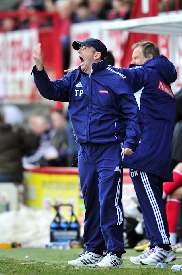 "Stoke City's Welsh manager Tony Pulis gestures during their FA Cup fifth round football match against Crawley Town at Broadfield Stadium in Crawley, England on February 19, 2012. AFP PHOTO/GLYN KIRK RESTRICTED TO EDITORIAL USE. No use with unauthorized audio, video, data, fixture lists, club/league logos or ""live"" services. Online in-match use limited to 45 images, no video emulation. No use in betting, games or single club/league/player publications. (Photo credit should read GLYN KIRK/AFP/Getty Images)"