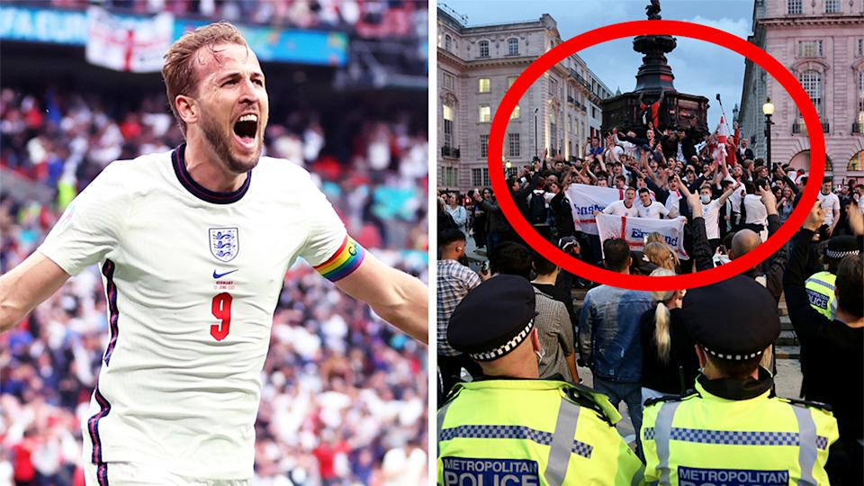 Harry Kane (pictured left) celebrating and (pictured right) England fans celebrating at Piccadilly Circus.