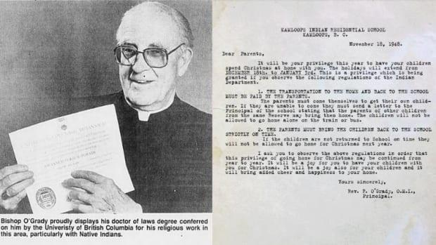 Bishop John Fergus O'Grady, left, displays his honourary UBC law degree in 1986. At right, a letter from O'Grady to residential school students' parents in 1948. (Prince George Newspaper Archives/BCTF - image credit)