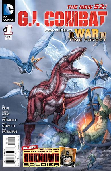 "This image provided by DC Comics shows the cover of the first issue of G.I. Combat. More than eight months after upending its classic superheroes and ongoing titles, DC Entertainment is bringing more titles to readers this week, including a contemporary take on its classic war comic ""G.I. Combat."" The book is one of six new titles hitting shelves Wednesday that include new takes on the Justice Society, ""Dial H For Hero"" and heroines Power Girl and Huntress, among others. (AP Photo/DC Comics)"