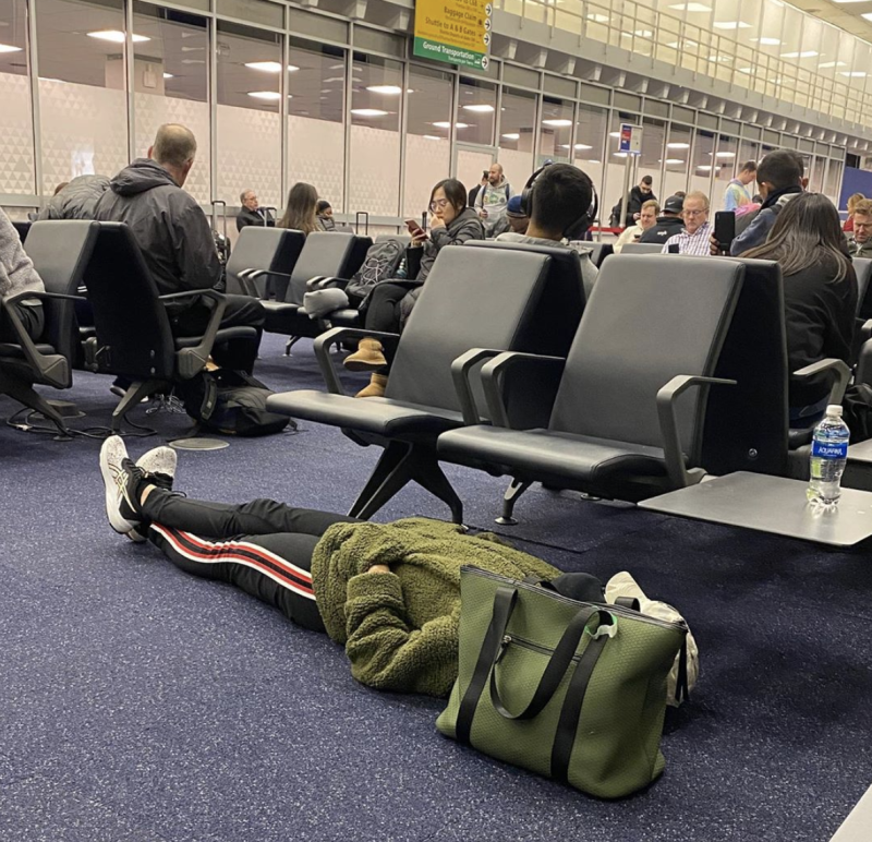 The woman, known as Becky, was slammed for blocking the two chairs. Source: Instagram/@travelcreeps