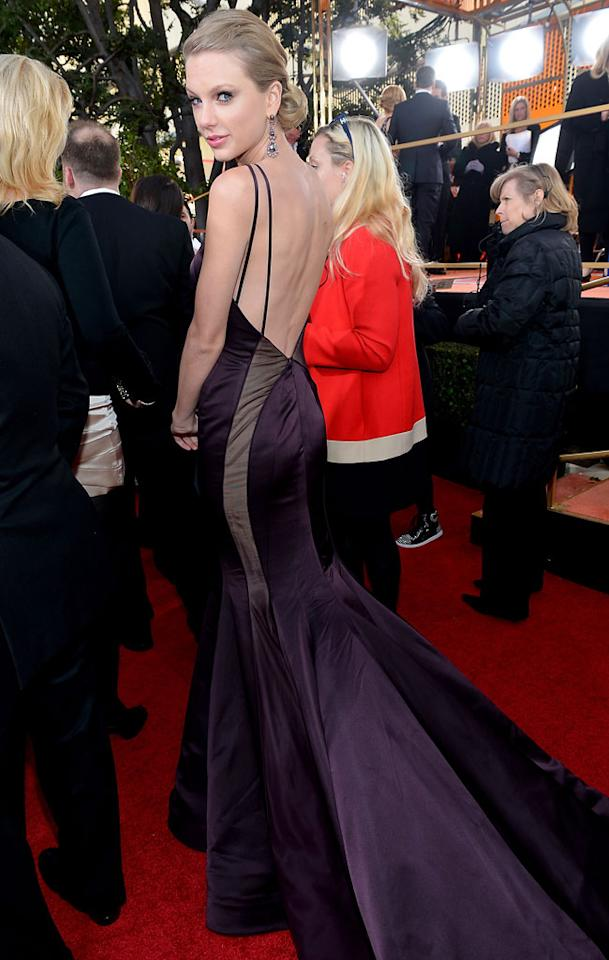Taylor Swift arrives at the 70th Annual Golden Globe Awards at the Beverly Hilton in Beverly Hills, CA on January 13, 2013.