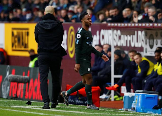 "Soccer Football - Premier League - Burnley vs Manchester City - Turf Moor, Burnley, Britain - February 3, 2018 Manchester City's Raheem Sterling walks past manager Pep Guardiola after being substituted off Action Images via Reuters/Jason Cairnduff EDITORIAL USE ONLY. No use with unauthorized audio, video, data, fixture lists, club/league logos or ""live"" services. Online in-match use limited to 75 images, no video emulation. No use in betting, games or single club/league/player publications. Please contact your account representative for further details."